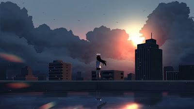 Wallpaper HD Anime Girl Angel Ring City