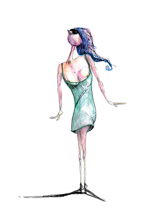 Green Dress: Catwalk: A thin model wearing a a short, green dress and sunglasses. Original watercolor and pencil drawing by Kostas Gogas.