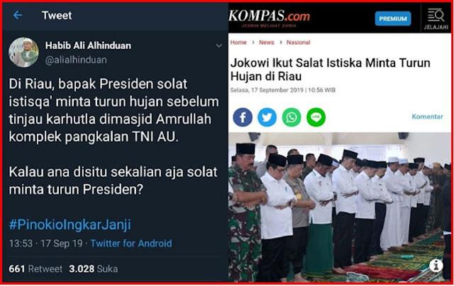 Seperti dikutip dari siaran pers resmi Istana, sebelum melakukan peninjauan tersebut, Presiden mengawali kegiatannya dengan melaksanakan solat Istisqa' (صلاة الاستسقاء), solat untuk minta turun hujan, di Masjid Amrullah Kompleks Pangkalan TNI AU Roesmin Nurjadin, Kota Pekanbaru.