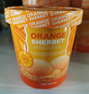A pint of Dollar Tree's Unbranded Orange Sherbet