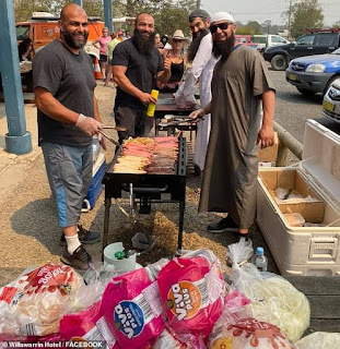 Muslim group is praised for driving six hours from Sydney's west to cook up a free BBQ for bushfire victims