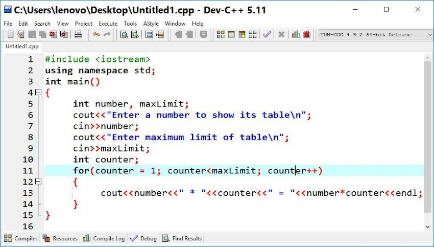 For loop in C++