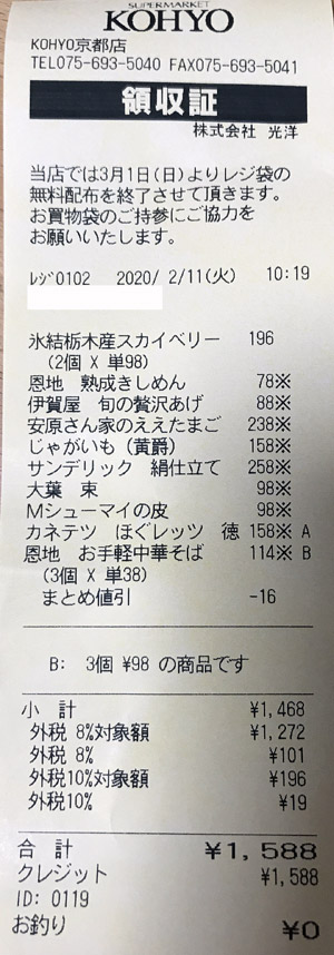 KOHYO 京都店 2020/2/11 のレシート
