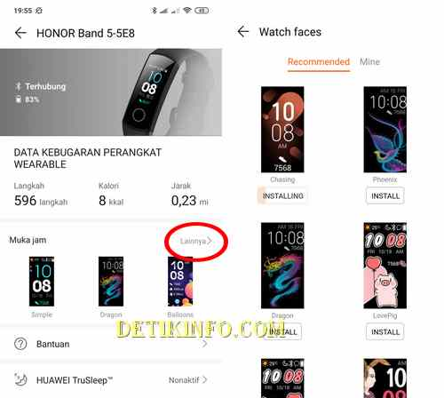 mengganti tema face honor band 5