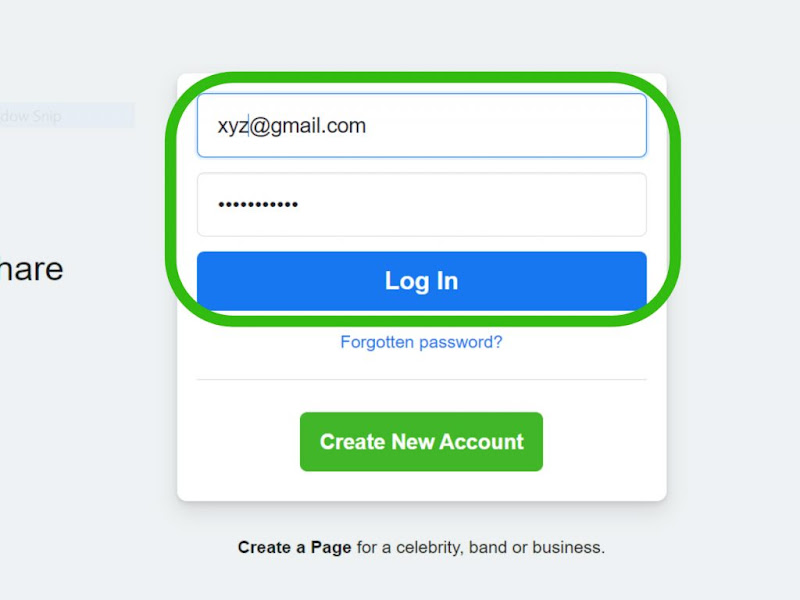 """After going to """"facebook.com"""", log into your Facebook account."""