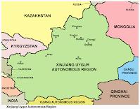 Xinjiang kart, wikimedia, lisens CC0, fri bruk - grense til Tajikistan er seinere justert