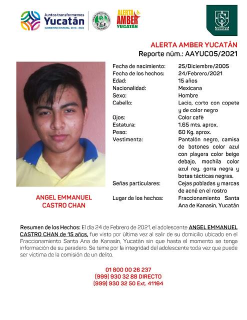 Alerta Amber Angel Emmanuel Castro Chan de 15 años de edad