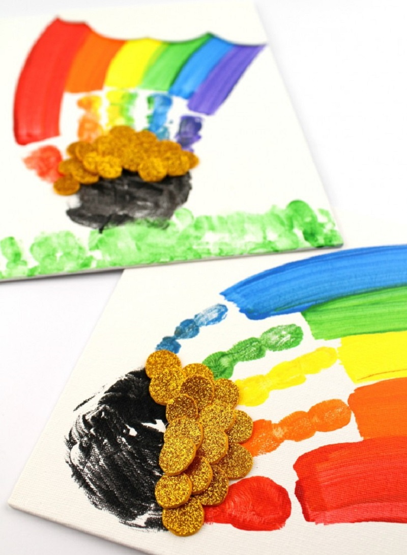 rainbow hand print paintings