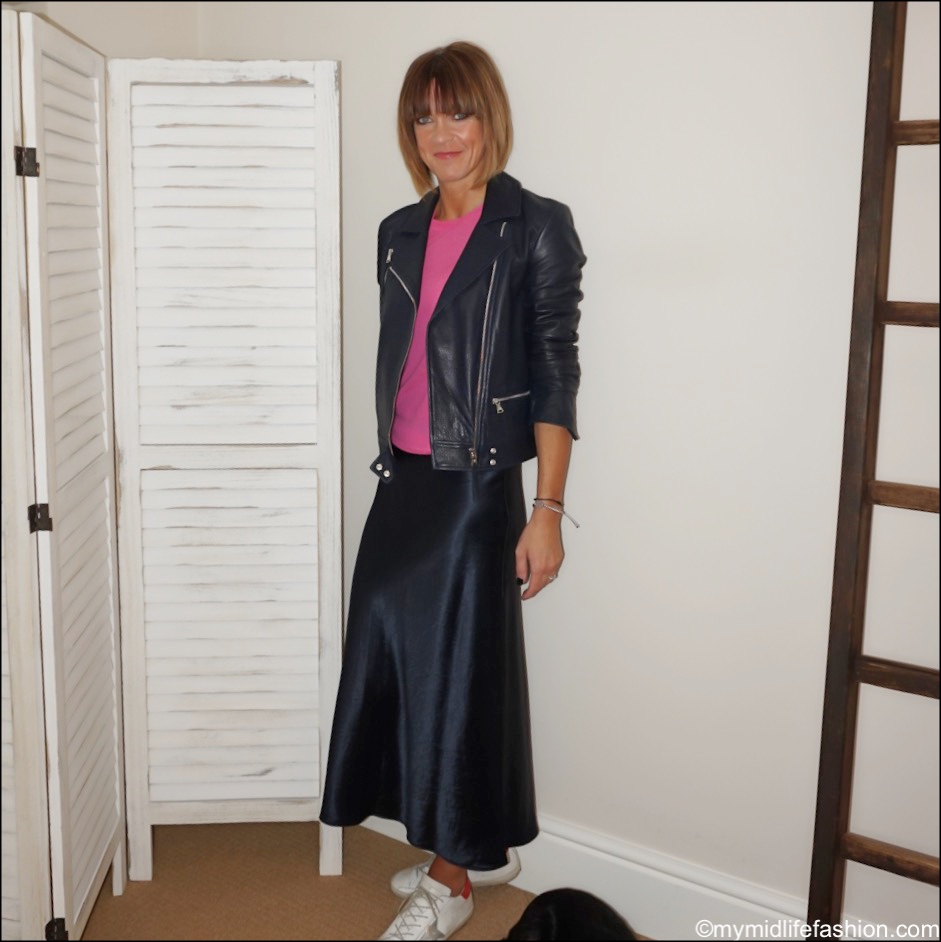 my midlife fashion, Massimo Dutti leather biker jacket, Joseph fine knit cashmere jumper, marks and Spencer slip midi skirt, golden goose superstar low top leather trainers