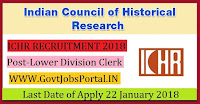 Indian Council of Historical Research Recruitment 2018 – Lower Division Clerk