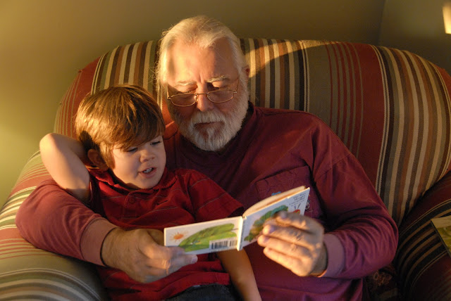 grandpa reading children's books to his grandson: LadyD Books