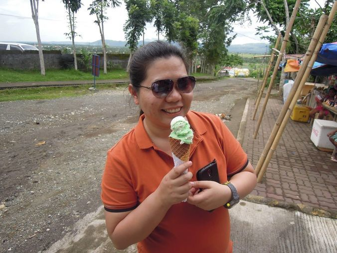 Enjoying ice cream in Kawa Kawa Hill in Albay