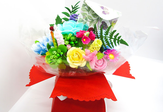 Paper flower aqua bouquet