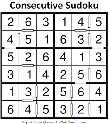 Answer of Consecutive Sudoku Puzzle (Mini Sudoku Series #112)