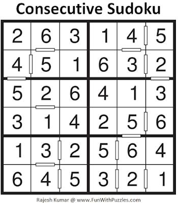 Answer of Consecutive Sudoku Puzzle (Mini Sudoku Series #112)