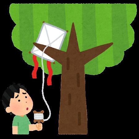 木に引っかかった凧のイラスト