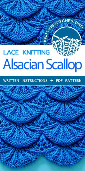 Knitting Stitches -- Scallop Knitting Pattern. Scallop Stitch Knitting. Learn how to make these exquisite knitted Alsacian scallops. This lovely knitted lace pattern is great for baby blankets and borders. #knitting #laceknitting