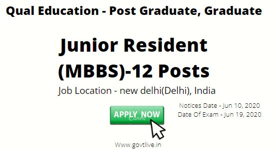 Rao Tula Ram Memorial Hospital, (RTRMH), Recruitment 2020:  -Apply for Junior Resident Posts Interview on June 17