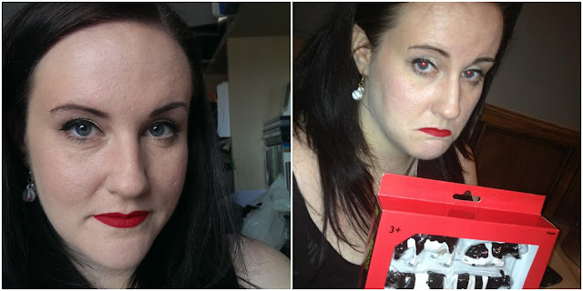 Before and after pics of the lime crime velvetine in red velvet