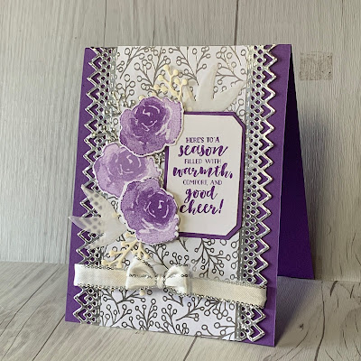 """Card using First Frost Stamp Set and Feels Like Frost 6 X 6"""" Paper"""