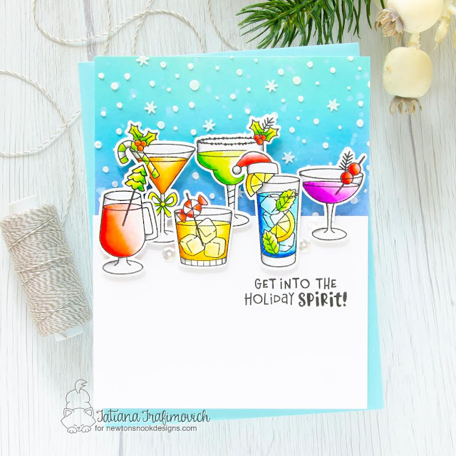 Holiday Spirit Card by Tatiana Trafimovich | Christmas Cocktails Stamp Set, Petite Snow Stencil by Newton's Nook Designs
