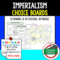 American History Digital Learning, American History Google, American History Choice Boards, Imperialism