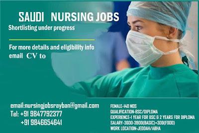 Urgently Required Staff Nurses to Jeddah and Abha, Saudi Arabia