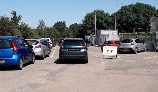 Cole Green household waste recycling centre off the A414 Image courtesy of Welwyn Hatfield Borough Council