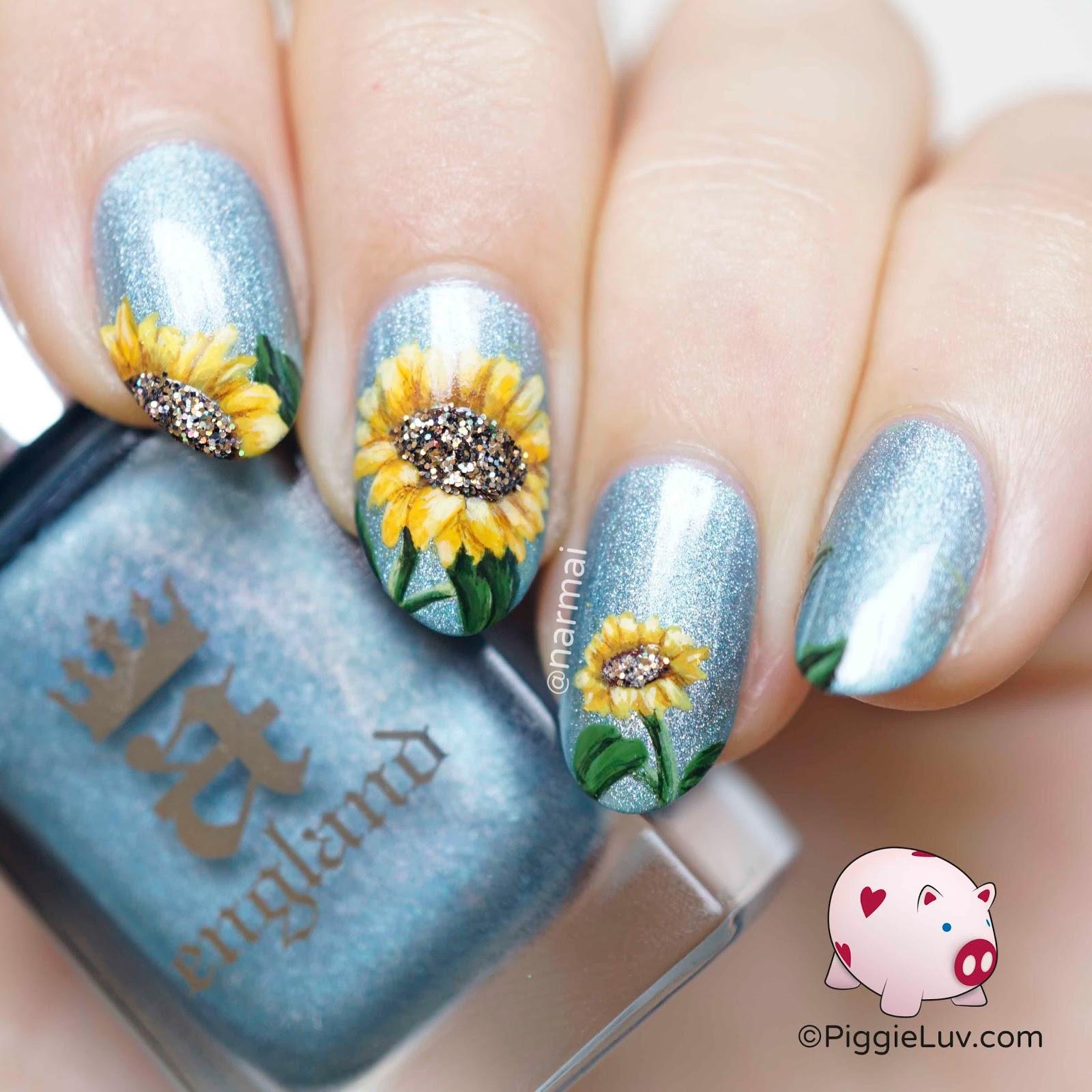 Piggieluv Glitter Sunflower Nail Art
