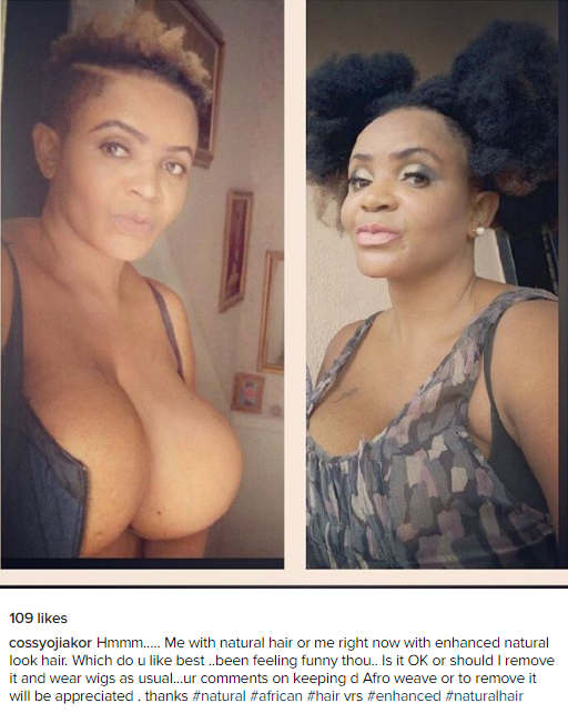 Cossy Orjiakor Needs Your Advice While showing Some Boobs(Photo)