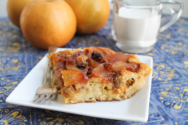 Food Lust People Love: This Bourbon Raisin Butterscotch Pear Bread Pudding is a decadent and delicious adult treat. Make it kid-friendly by subbing apple juice.