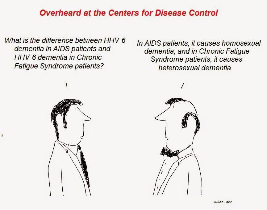aids dementia, cfs dementia, cartoon, cfs , julian lake, auci, nih, cdc