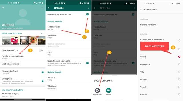 scelta del tono delle notifiche su WhatsApp