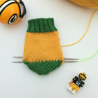 Green Bay Packers yellow and green hand-knit socks