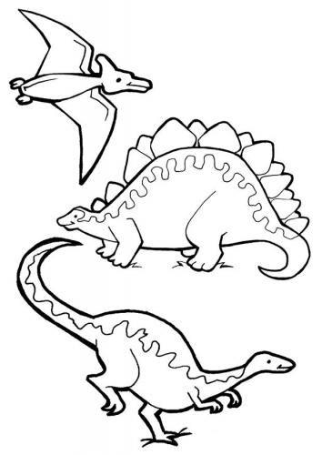 Fichas de animales para pintar: Dinosaurios | Colorear y Pintar
