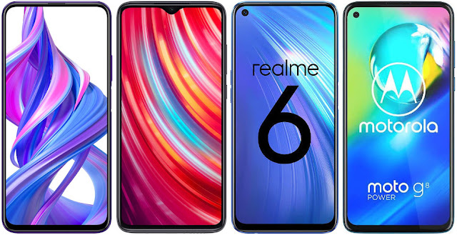 Honor 9X Pro vs Xiaomi Redmi Note 8 Pro vs Realme 6 vs Motorola Moto G8 Power