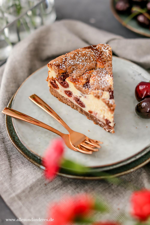 Sommerlicher Kirsch Quark Kuchen Mit Schokotupfen Alles Und Anderes