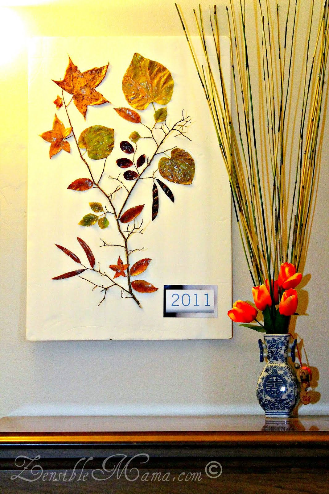 zensible mama diy fall leaf and tree branch 3d wall art. Black Bedroom Furniture Sets. Home Design Ideas