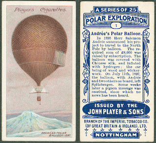 A card with an illustration and text block on Andree's Polar Balloon.