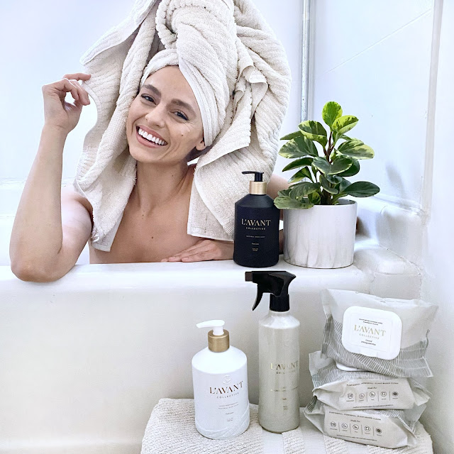 Taking a bubble bath with my L'AVANT Collection Plant Based Hand Soap. Clean me, clean tub!