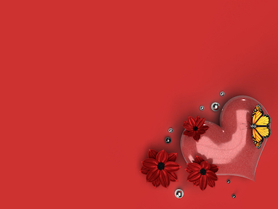 3D Red heart and flowers with yellow butterfly