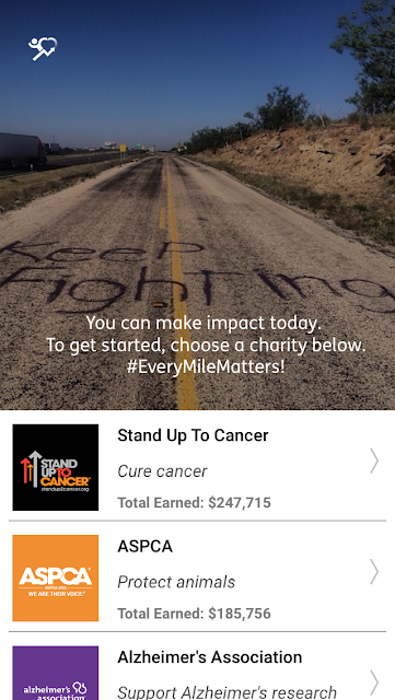 Charity miles Technology app