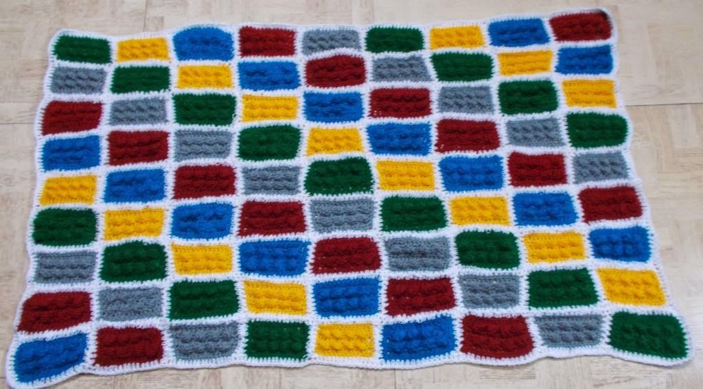 free crochet lego brick blanket pattern