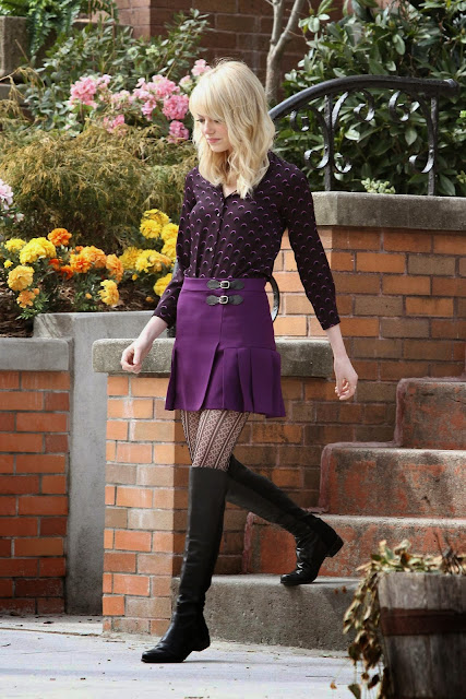 Gwen Stacy gets a makeover from Prince like the one he gave to Zooey Deschanel in New Girl's Super Bowl episode.
