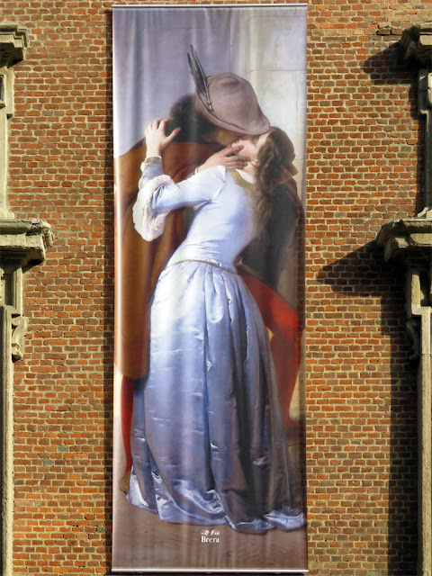 "Banner outside the Pinacoteca di Brera inspired by ""Il bacio"" (The Kiss) by Francesco Hayez, Via Brera, Milano"
