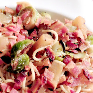 Pasta with Caramelized Onions, Brussels Sprouts, and Apples from www.bobbiskozykitchen.com