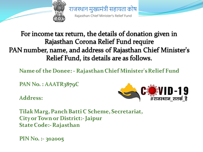 Rajasthan Chief Minister's Relief Fund PAN No. and Address