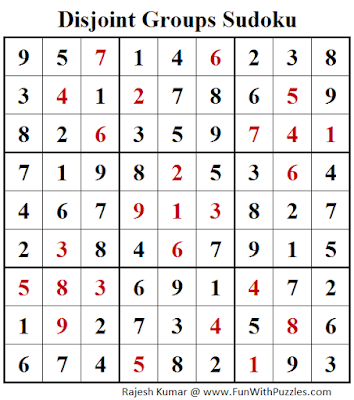Disjoint Groups Sudoku (Fun With Sudoku #256) Puzzle Solution