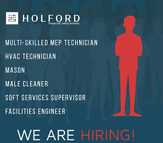 Holfordfm Group Recruitment For ITI and Diploma Holders For Technician, HVAC Technician, Mason, Male Cleaner, Supervisor and Facilities Engineer For Dubai Location