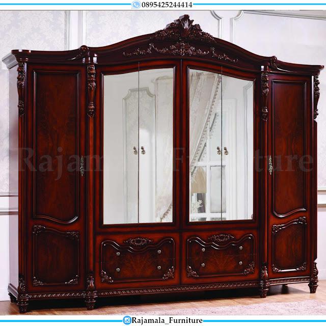 Lemari Pakaian Mewah Jati Pintu 6 Luxury Carving Jepara RM-0372